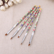 Nail brushes Fashion New 5PCS/set Nail Art Wood UV Gel Salon Pen Flat Brush Kit Dotting Nail styling Tools