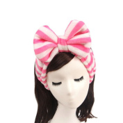 Ayygift Woman Dots Flannel Bowknot Hair Wrap Band Towel Stripe Bandeau Headband Leopard