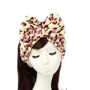 Ayygift Woman Dots Flannel Bowknot Hair Wrap Band Towel Stripe Bandeau Headband Leopard
