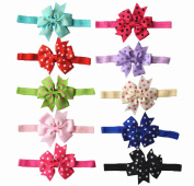 Qandsweet Baby Girl's Hairbands Grosgrain Ribbon Hair Bows