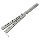 JETTINGBUY. Stainless Steel Practise Training Butterfly Balisong Style Silver Knife Comb