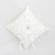 Wedding Ring Pillow Cushion Pearl Lace Wedding Bearer Flower Cushion Pillow