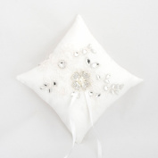 Wedding Ring Pillow Cushion Rhinestone Lace Pearl Wedding Bearer Cushion Pillow