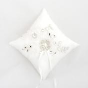 Wedding Ring Pillow Cushion Rhinestone Lace Pearl Wedding Bearer Cushion Pillow