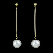 FEELONTOP® Turkish Jewellery Gold Colour Plated Alloy Concise Long Created Pearl Dangle Earring for Women