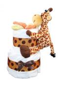 2 Tier Mini Nappy Cake With Giraffe, Safari