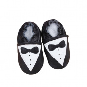 Baby Moccasins with Tuxedo Design for Boy Girl Infant Toddler Pre Walker Crib Shoe with Embellished Design (Large