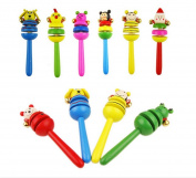 SMO Baby rattle bell toys wooden rattle rattle Wooden cartoon animal shaker rattle