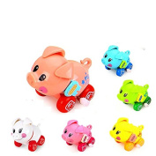Cartoon Cute Gliding Animals Wind-up Toy Clockwork Small Cochain Toys Children's Early Educational Toys for baby 1-3 year old,6 pcs pig