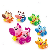 Cartoon Cute Gliding Animals Wind-up Toy Clockwork Small Cochain Toys Children's Early Educational Toys for baby 1-3 year old,6 pcs cow