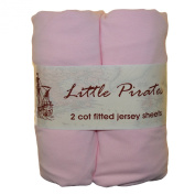2 x Baby Cot Fitted sheet 60x120 100% Jersey Cotton - Pink