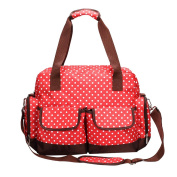 Fineplus Womens Dot Baby Collections Nylon Shoulder Straps Tote Bags Red