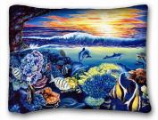Decorative Standard Pillow Case Animals Corals sea Fish Dolphins belinda leigh sunset Turtles Art 50cm *70cm One Side