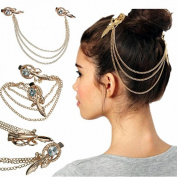 KINGSO Gold Tone Crystal Metal Feather Hair Brooch Clip Cuff Head Band Headpiece ChainTiara