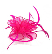 Hot Pink Organza Fascinator comb for Weddings, Races or Ladies Day
