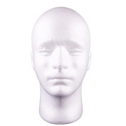Styrofoam Male Head Stand Model Display Wig Hats Holder