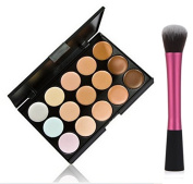 LyDia 15 Colours Cream Concealer/Highlight/Face Contour Camouflage Palette Dull/Redness Skin/Black Circle kit set + LyDia Red Hot Pink-1052 Round Foundation/Concealer Makeup Brush