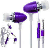 C63® PURPLE HANDSFREE EARPHONES WITH MICROPHONE. FOR for  for  for  for Samsung    GALAXY S5 S4 S6, iPhone 6 6 Plus, 5S, 4S, iPad, iPod, MP3 MP4 Players, Macbook Pro and Tablet PC