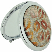 The Olivia Collection Silver Plated Gold Glitter & Bronze Lips Print Compact Dual Mirror SC1004