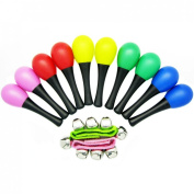kilofly Musical Toys Rhythm Plastic Egg Maracas Value Pack, 5 colours [Set of 10 + 2 Wrist Bells]