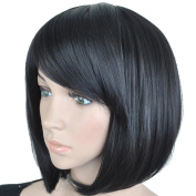 MISS20 Women's Straight Full Head Bob Wig With Inclined Fringe-Darkest Brown