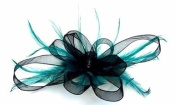 Black Ribbon & Teal Feathers Hair Fascinator Comb