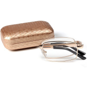 LianSan slim mini folding reading glasses with case men metal frame reading eyeglasses women LMO-012 Golden 300°