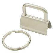 "50 Sets - 1.25 Inch 32mm Key Chain Key Fob Hardware Wristlet Set with 1"" 25mm Split Ring Wrist"