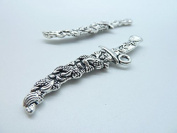 6pcs 15x65mm Antique Silver Heavy Twisted Dragon Sword Knife Charms Pendant C2678