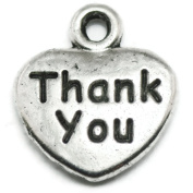 20 Thank You Heart Charms silver tone