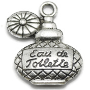 20 Perfume Bottle Charms silver tone