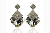 Brandman 2015 Fashion Accessories Black and White Square Crystal Luxury Sparkling Big Gold Drop Earrings for Women