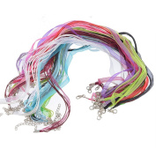Godagoda Mixed Organza Cord Necklace with Lobster Clasp Pack of 24pcs