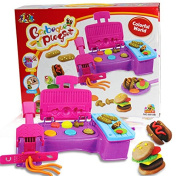 3D CreativeTwister Playset Clay Silly Putty Tools Mould Set Pretend Play Toy for Kids, Hamburger