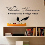 Wall Decals Verba volant Scripta Manent Words fly away Writings Remain Latin Quote Vinyl Sticker Home Decor Living Office Study Murals ML55