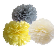 CheckMineOut 12pcs Mixed Ivory Grey Yellow Tissue Paper Pom Poms Flower Wedding Centrepieces Birthday Party Bridal Shower Party Decoration