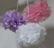 SUNBEAUTY 15cm/20cm 6pcs Mixed Sizes White Pink Lilac Mixed Colour Tissue Paper Pom Poms Flower Balls Hanging Decoration Party Birthday Wedding