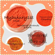 Lot of 4 Pieces Colour Samples Orange Matte Mica Glitter Soap Bath Bomb Pigment Powder Colourants 3g Jars