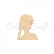 Woman Girl Head Style 1306, Wooden Cutouts, Crafts Embellishment, Gift Tag or Wood Ornament