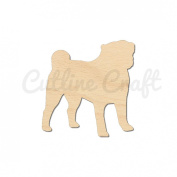 Pug Dog Style 1033, Wooden Cutouts, Crafts Embellishment, Gift Tag or Wood Ornament