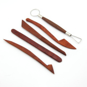 5PCS 20cm Rosewood Wooden Professional Pottery Clay Moulding Sculpture Shaping Knives Tools