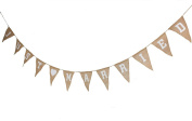 CheckMineOut Hessian Burlap Just Married Bunting Banner Rustic Wedding Decoration Favour