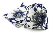 10pc Jewellery Navy Blue and White Flower Drawstring Jewellery Gift Bags 7.6cm x 10cm