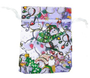 10PCS New Design Holiday or Christmas Lavender Snowman Favour Jewellery Organza Drawstring Gift Bags 7X9cm