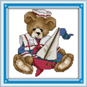 AngelGift Needlecrafts Stamped Counted Cross Stitch Set, Animal - Navy Bear