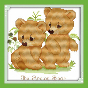 AngelGift Needlecrafts Stamped Counted Cross Stitch Set, Animal - Two Brown Cubs