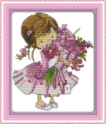 AngelGift Needlecrafts Stamped Counted Cross Stitch Set, Figure - Send Flowers Girl