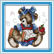 AngelGift Needlecrafts Stamped Counted Cross Stitch Set, Animal - Smart Bear