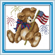 AngelGift Needlecrafts Stamped Counted Cross Stitch Set, Animal - Fireworks Cubs