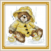AngelGift Needlecrafts Stamped Counted Cross Stitch Set, Animal - Bear and Duck